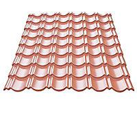 Plaque métal imitation tuile Home Steel rouge Bacacier - 115 x 87 cm (vendue à la plaque)