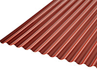 Plaque ondulée PVC rouge-gris 200 x 100 cm, ép. 2 mm (vendue à la plaque)
