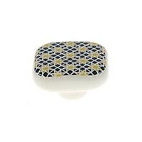 Poignée bouton céramique carreau ciment bleu jaune