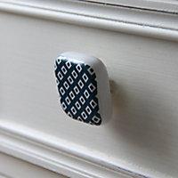 Poignée bouton céramique carreau ciment bleu vert