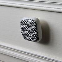 Poignée bouton céramique carreau ciment noir