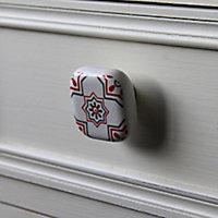 Poignée bouton céramique carreau ciment rouge et blanc