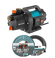 Pompe d'arrosage électrique Gardena Basic 3000/4 + tuyau 20 m et kit d'aspiration