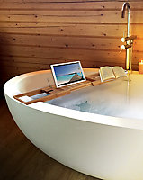 Pont de baignoire en bambou avec support tablette/livre MSV Spirella L. 70 x P. 15,1