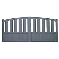 Portail aluminium Vosges gris - 300 x h.125 cm