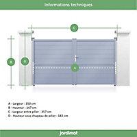 Portail Jardimat aluminium Chalon blanc 9016 - 350 x h.167 cm