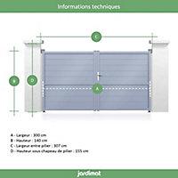 Portail Jardimat aluminium Garonne blanc 9016 - 300 x h.140 cm