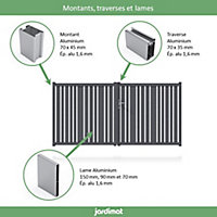 Portail Jardimat aluminium Genes gris 7016 - 300 x h.152 cm