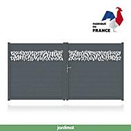 Portail Jardimat aluminium Neva 2 gris 7021 - 300 x h.180 cm