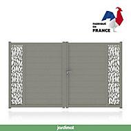 Portail Jardimat aluminium Neva 3 gris 7039 - 300 x h.180 cm