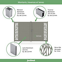 Portail Jardimat aluminium Neva 3 gris 7039 - 350 x h.180 cm