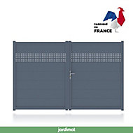 Portail Jardimat aluminium Sisteron gris 7016 - 300 x h.191 cm
