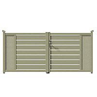 Portail Jardimat aluminium Tarcenay gris 7032 - 300 x h.136 cm