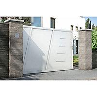 Portail Jardimat coulissant aluminium Bournois blanc 9016 - 350 x h.173,3 cm