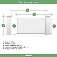 Portail Jardimat coulissant aluminium Chalon blanc 9016 - 350 x h.162 cm