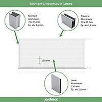 Portail Jardimat coulissant aluminium Chalon blanc 9016 - 400 x h.162 cm