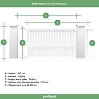 Portail Jardimat coulissant aluminium Garonne blanc 9016 - 350 x h.140 cm
