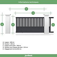 Portail Jardimat coulissant aluminium Garonne gris 7016 - 400 x h.140 cm