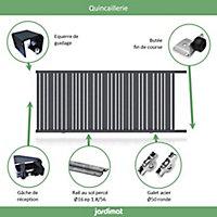 Portail Jardimat coulissant aluminium Genes gris 7016 - 350 x h.150 cm