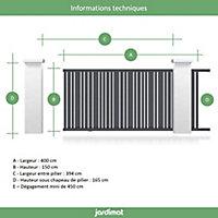 Portail Jardimat coulissant aluminium Genes gris 7016 - 400 x h.150 cm