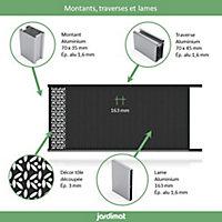 Portail Jardimat coulissant aluminium Olivier noir 2100 - 300 x h.169 cm