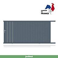 Portail Jardimat coulissant aluminium Valois gris 7016 sablé - 400 x h.180 cm
