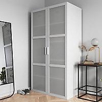Porte battante verre opaque blanche GoodHome Atomia H. 224,7 x 49,7 cm