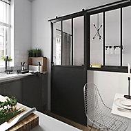 Porte coulissante atelier noire H.204 x l.135cm