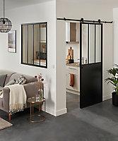 Porte coulissante Atelier noire H.204 x l.83 cm + système coulissant Indus