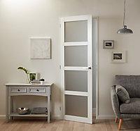 Porte coulissante blanche 4 carreaux vitrées H.204 x l.83 cm