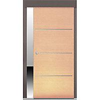 Porte coulissante coloris chêne Geom Triaconta naturel H.204 x l.73 cm