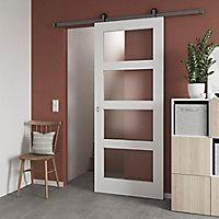 Porte coulissante Connemara 4 carreaux blanc H.204 x l.83 cm