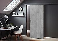 Porte coulissante Exmoor gris H.204 x l.83 cm + système coulissant Oléni