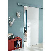 Porte coulissante Geom Arithmos laquée blanc H.204 x l.73 cm