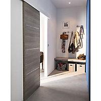 Porte coulissante Geom Triaconta gris clair H.204 x l.73 cm
