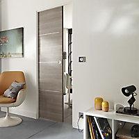Porte coulissante Geom Triaconta gris clair H.204 x l.83 cm