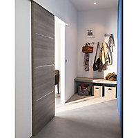 Porte coulissante Geom Triaconta gris clair H.204 x l.93 cm