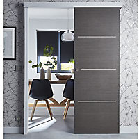 Porte coulissante Geom Triaconta gris H.204 x l.73 cm