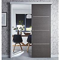 Porte coulissante Geom Triaconta gris H.204 x l.83 cm