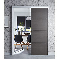 Porte coulissante Geom Triaconta gris H.204 x l.93 cm