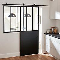 Porte coulissante Industrial noire H.204 x l.83 cm