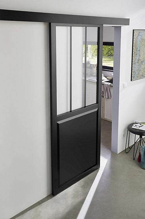 Porte Coulissante Vitree Esprit Atelier Noire H 204 X L 83 Cm Systeme En Applique Castorama