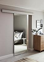 Porte coulissante vitrée Reflecto miroir H.204 x l.83 cm