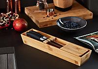 Porte couteaux GoodHome Nitaki bambou 40 x 9 cm, 5 compartiments