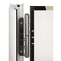 Porte d'entrée acier Hublots inserts gris anthracite 90 x h.215 cm poussant gauche