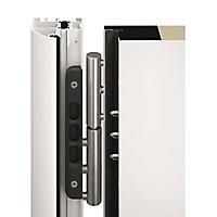 Porte d'entrée acier Plaques carrées gris anthracite 90 x h.215 cm poussant gauche