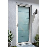 Porte d'entrée aluminium Alana blanc 80 x h.215 cm poussant gauche