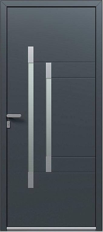 porte d'entrée aluminium tess gris 96 x h218 cm poussant