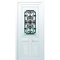 Porte d'entrée pvc Geom Gonia blanc 80 x h.215 cm poussant gauche