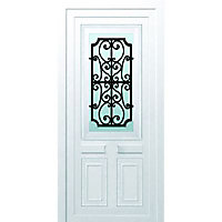 Porte d'entrée pvc Geom Gonia blanc 90 x h.215 cm poussant gauche
